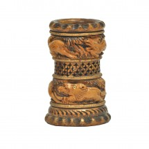 Pen stand in wood  carving brownwood colour