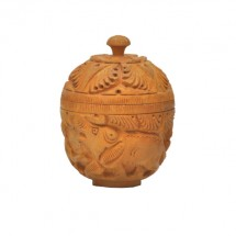 Wooden Apple Kum Kum Box carving