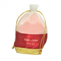 White Tissue With Red Satin Golden Jari Bag
