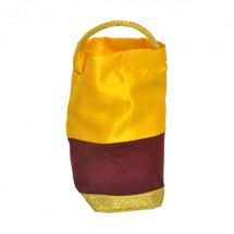 Yellow Satin Bag With Maroon Velvet