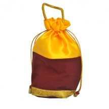 Yellow Satin Maroon Velvet Gold Jari Bag